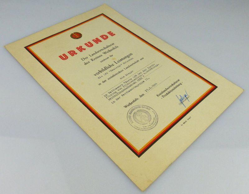 Urkunde Sieger vorbildliche Leistungen LPG Saaletal Kriechau 1966 Orden2005 1
