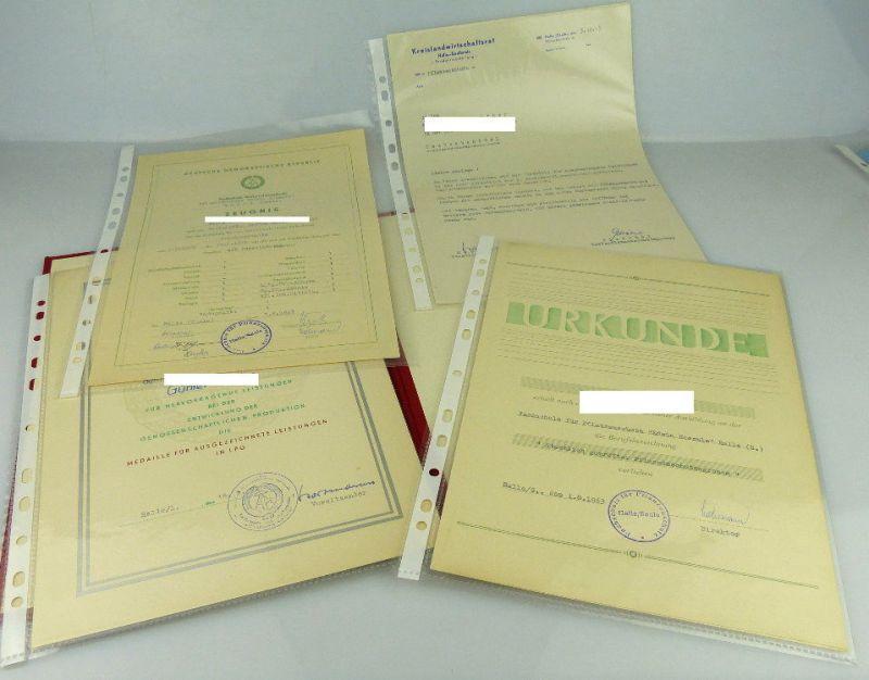 Nachlass: 3 Urkunden, 1 Zeugnis, 1 Anschreiben LPG Medaille für ausge, Orden2004