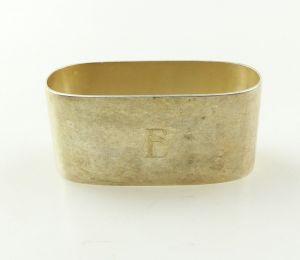 E10396 Alter Serviettenring aus 800er Silber im Bauhausstil mit Monogramm E