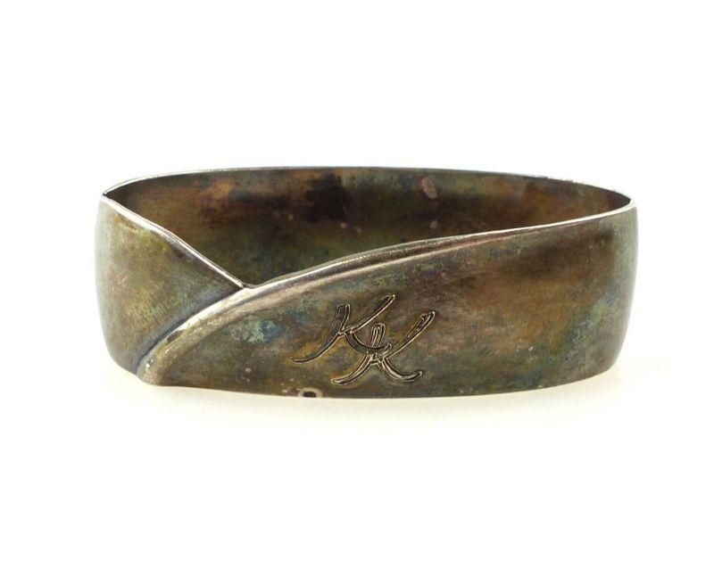 E10394 Serviettenring aus 800er Silber mit Monogramm KK Halbmond und Krone