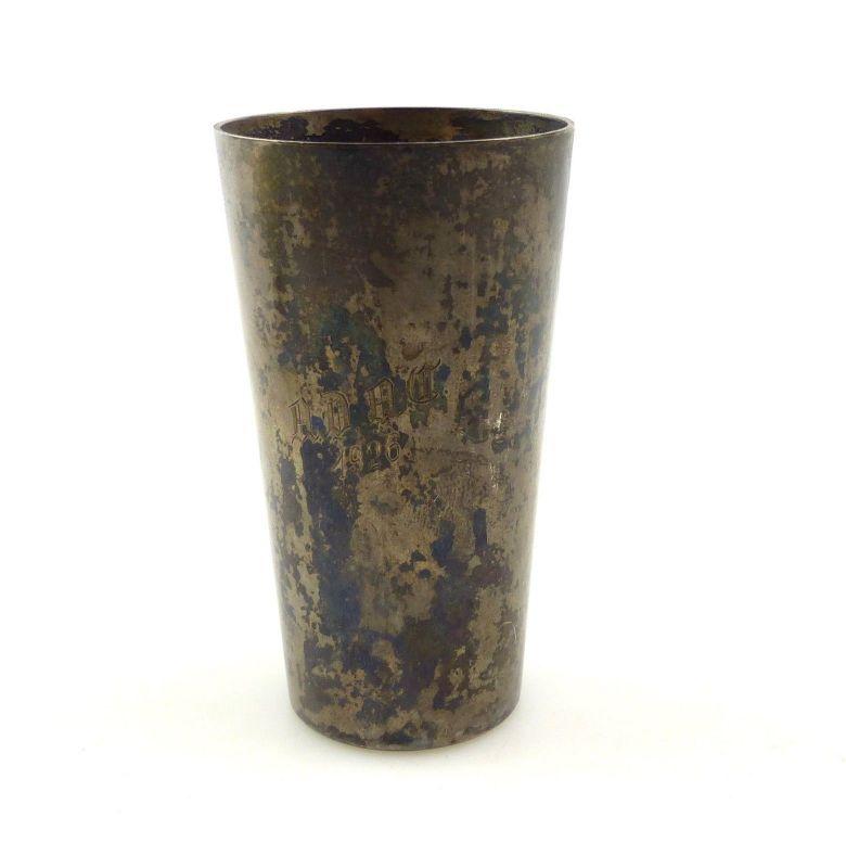 E10390 Alter ADAC Wodkabecher Schnapsbecher aus 800er Silber von 1926