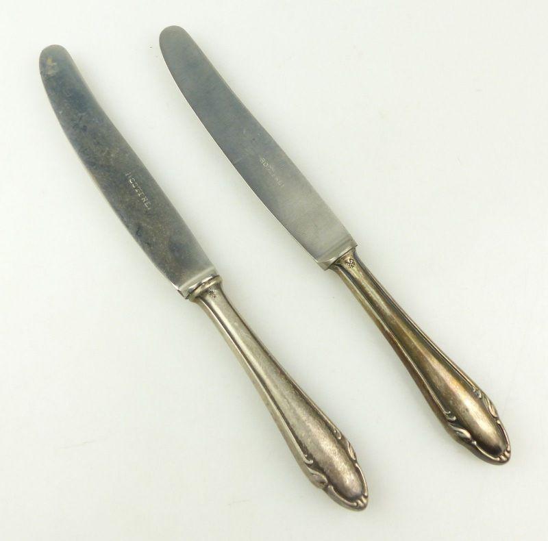E10383 2 Dessertmesser mit Griffen aus 800er Silber