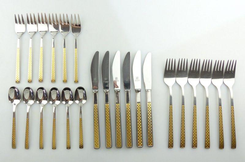 E9581 Edelstahl Besteck 24 Teile sehr schönes elegantes Design mit Gold