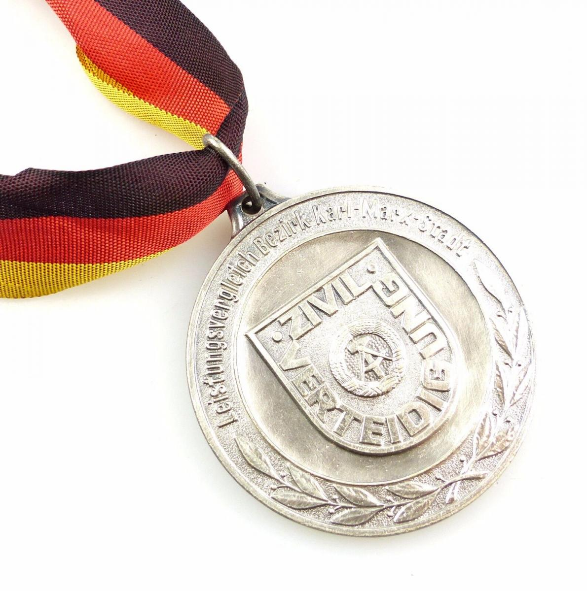 #e5543 DDR Medaille Silber Leistungsvergleich Karl-Marx-Stadt Zivilverteidigung