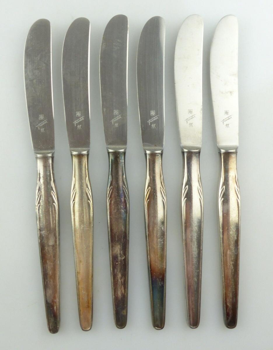 E9699 6 WMF Messer mit versilberten Griffen in 90 Silberauflage