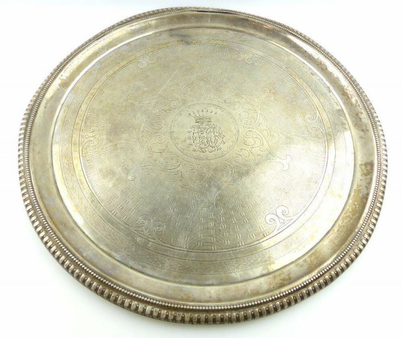 Dekoratives Gründerzeit Tablett Wagner & Sohn in 800 (Ag) Silber, e1309 1