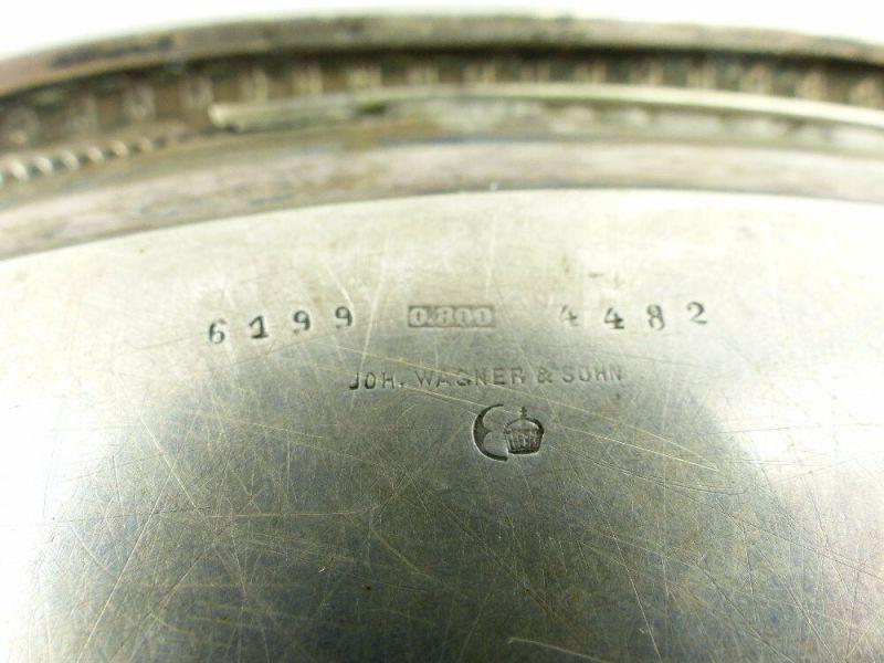 Dekoratives Gründerzeit Tablett Wagner & Sohn in 800 (Ag) Silber, e1309 10