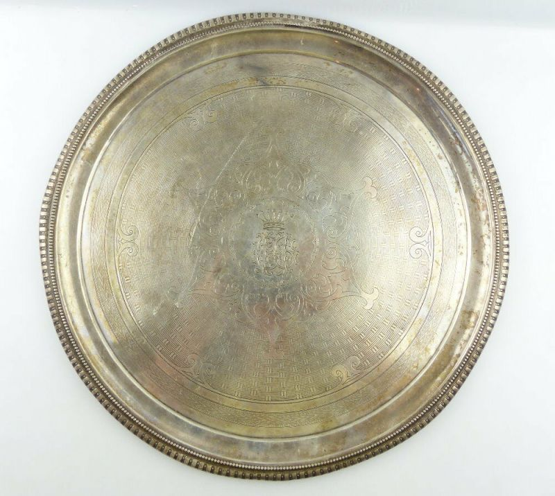 Dekoratives Gründerzeit Tablett Wagner & Sohn in 800 (Ag) Silber, e1309 2