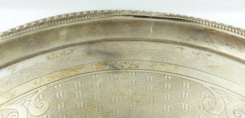 Dekoratives Gründerzeit Tablett Wagner & Sohn in 800 (Ag) Silber, e1309 5
