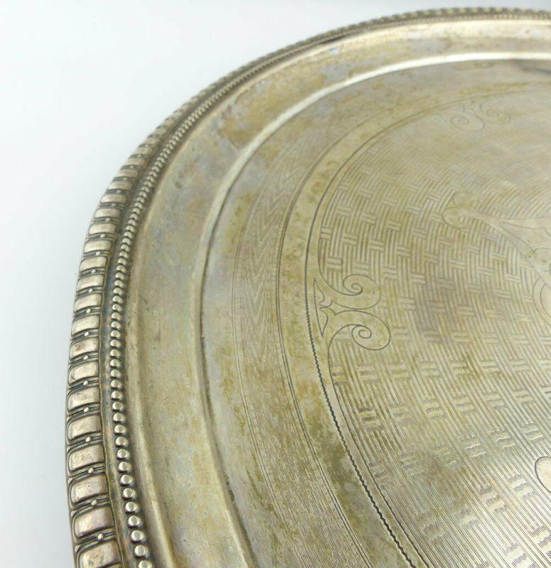 Dekoratives Gründerzeit Tablett Wagner & Sohn in 800 (Ag) Silber, e1309 6