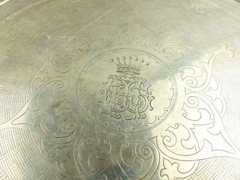 Dekoratives Gründerzeit Tablett Wagner & Sohn in 800 (Ag) Silber, e1309 7