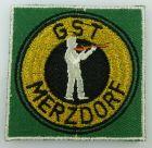 GST Abzeichen: GST Merzdorf, Aufnäher gestickt, ausgestanzt, besäumt, GST198-2