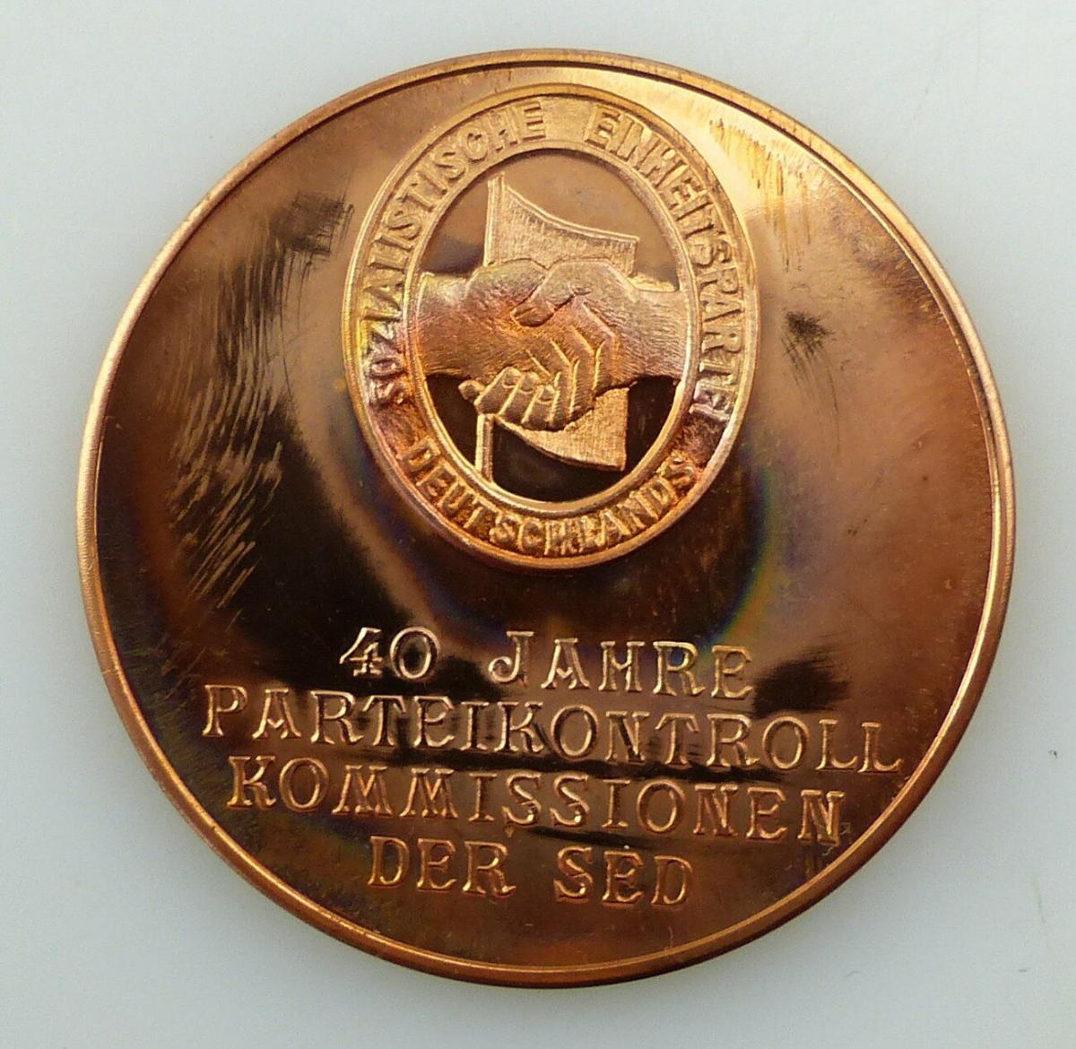 E10402 Alte DDR Medaille 40 Jahre Parteikontrollkommissionen der SED