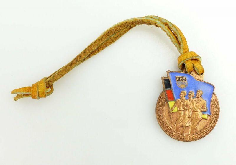 Medaille: FDJ II. Deutschlandtreffen 1954 Für Frieden Einheit Freiheit e1758