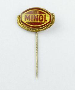 E10476 DDR Anstecknadel VEB Minol goldfarben Mineralöl Abzeichen