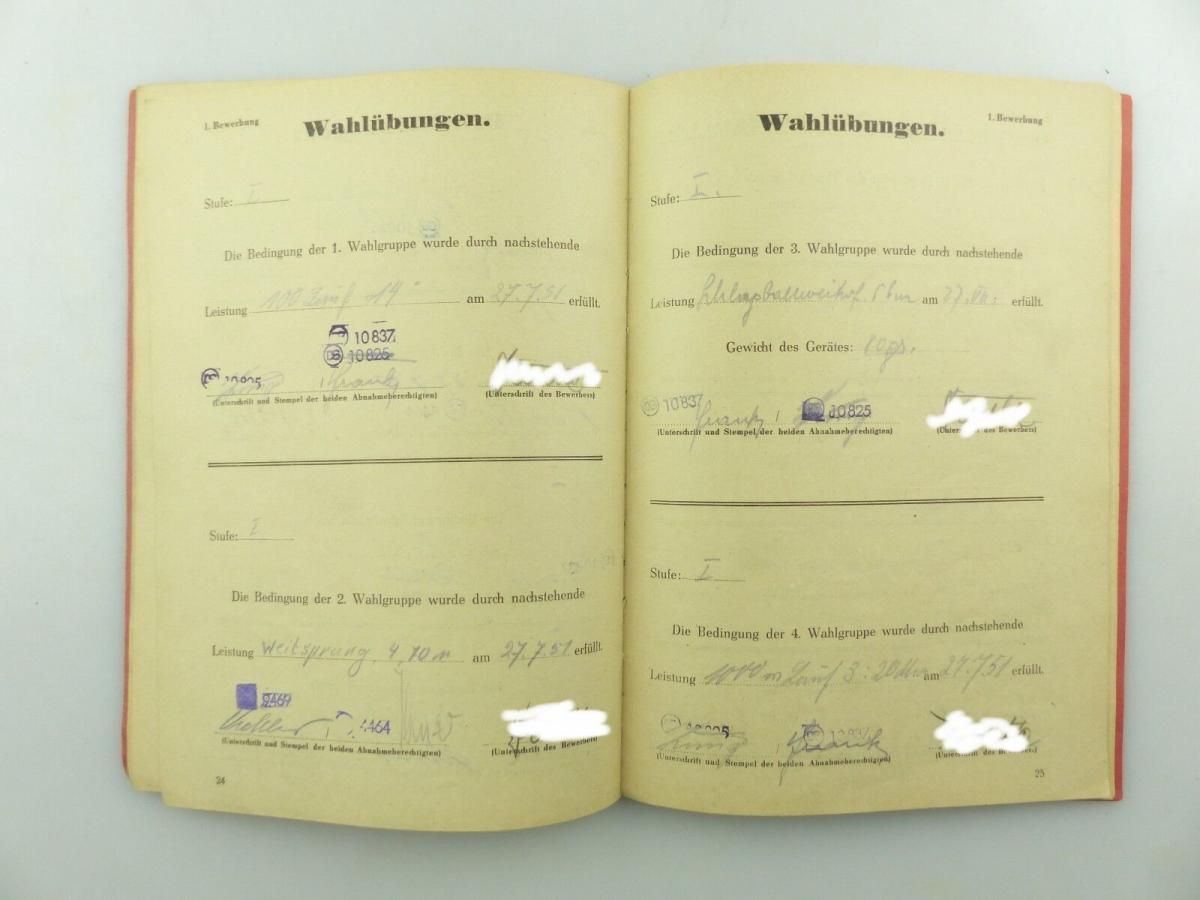 Original Leistungsbuch Deutscher Sportausschuss mit Eintragungen und Urkunde 8