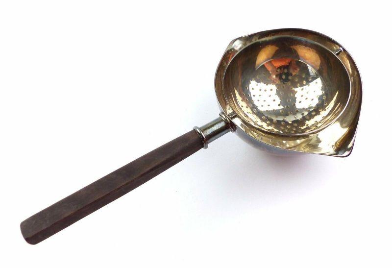 #e6848 Altes Teesieb aus 925 (Ag) Silber mit Holzgriff schwenkbar 87 g