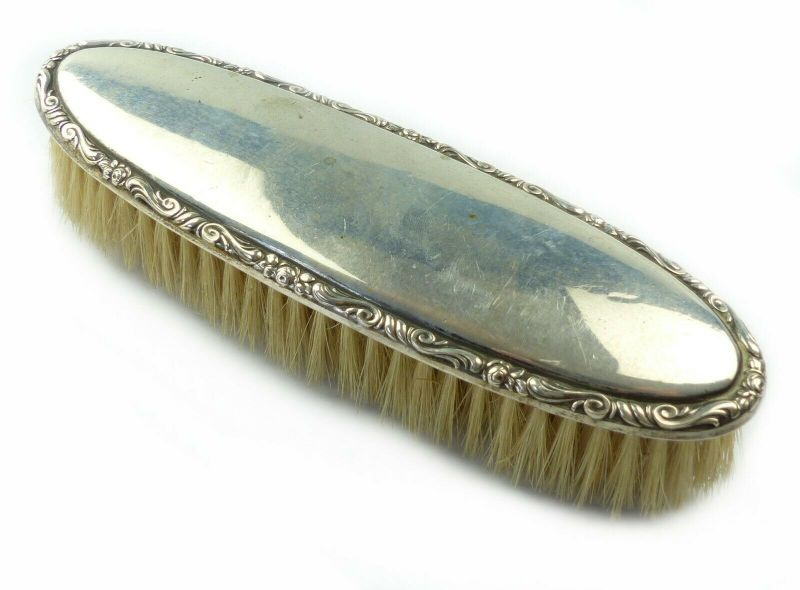 E10605 Original alte Kleiderbürste mit Oberteil aus 835 Silber