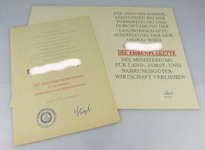 2 Urkunden: Ehrenplakette Vorbereitung & Durchführung AGRA, Erinnung., Orden2000