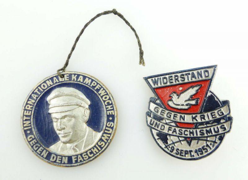 #e2355 2 DDR Abzeichen Internationale Woche gegen den Faschismus 1951