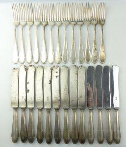 E10220 13 Messer und 13 Gabeln WMF Straußenmarke Kreuzband versilbert