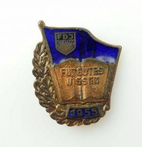 #e4634 DDR Abzeichen FDJ für gutes Wissen Stufe Bronze mit VNr. (1955) Nr. 26/55