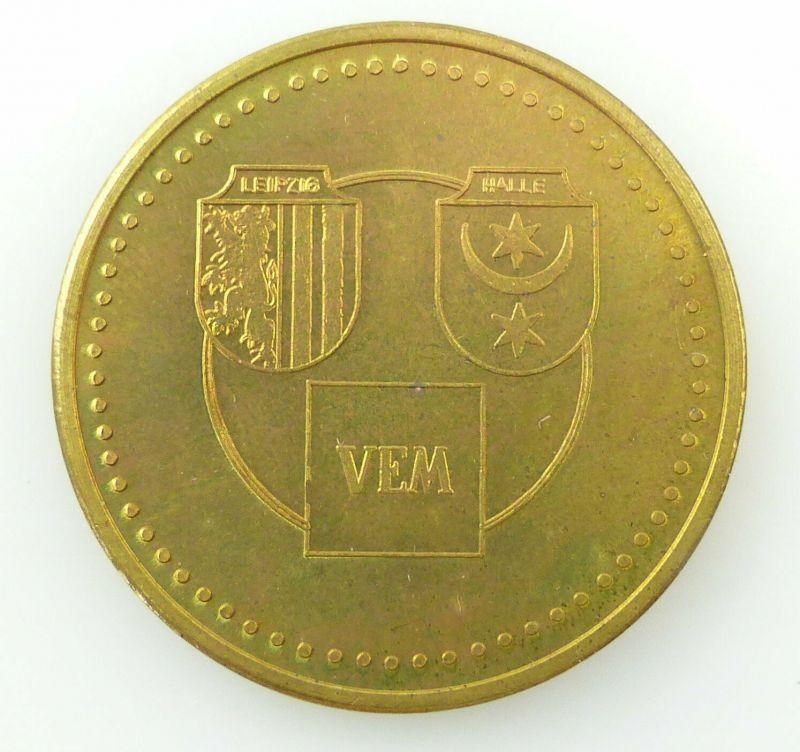 E10658 DDR Medaille VEB Starkstrom Anlagenbau Leipzig Halle VEM goldfarben