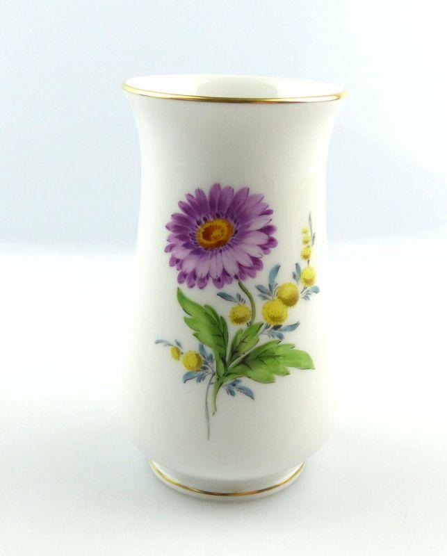 #e4244 Tolle Blumenvase Meissen Porzellan Blumen mit Goldrand 1. Wahl
