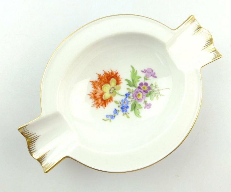 #e4241 Meissen Porzellan Aschenbecher mit Blumen und Goldrand 1. Wahl
