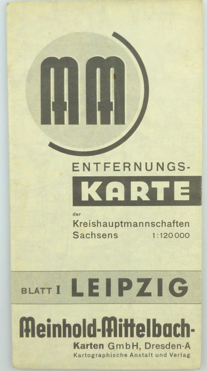 Mittelbach Karte: Entfernungskarte Blatt 1 Leipzig Sachsen e941