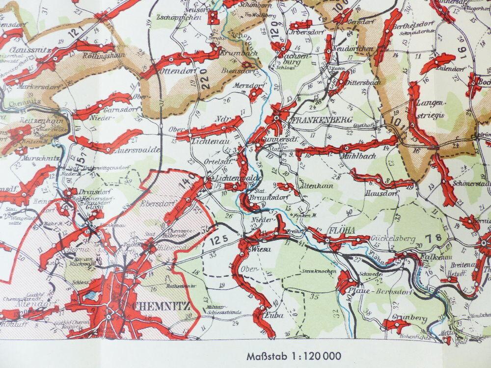 Leipzig Karte Sachsen.Mittelbach Karte Entfernungskarte Blatt 1 Leipzig Sachsen E941