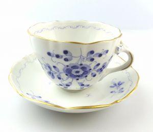 #e5170 Mokkagedeck Mokkatasse mit Untertasse blaue Blumen & Gold PMP Schierholz