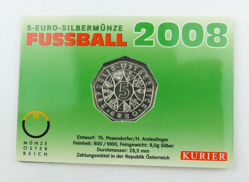 #e7388 5-Euro-Silbermünze von 2008 Münze Österreich Fußball 800/1000 8g Silber