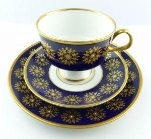 #e5169 Kaffeegedeck von Lichte DDR Echt Kobalt mit Gold Dekor