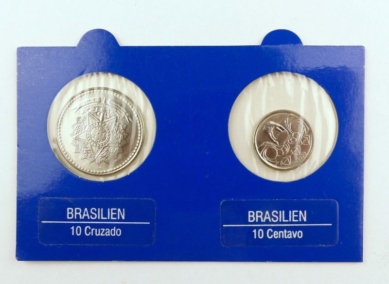 #e7387 2 Münzen aus Brasilien 10 Cruzados von 1988 und 10 Centavos von 1990