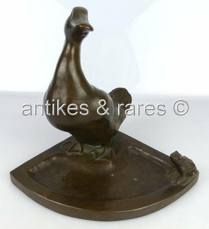 Alte Bronze Visitenkartenschale Ente mit Frosch Bruno Wendel Berliner Bildhauer