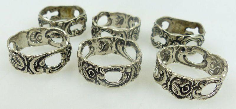 6 alte Serviettenringe in 800 Ag Silber mit Rosendekor norb757