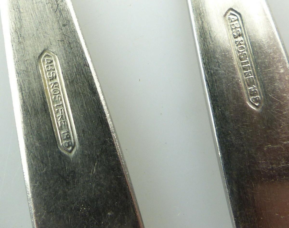 E10804 6 alte DDR Kuchengabeln mit Etui ABS rostfrei 5