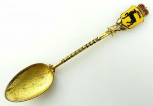#e2014 Schöner alter vergoldeter 800er Silberlöffel mit Wernigeroder Wappen
