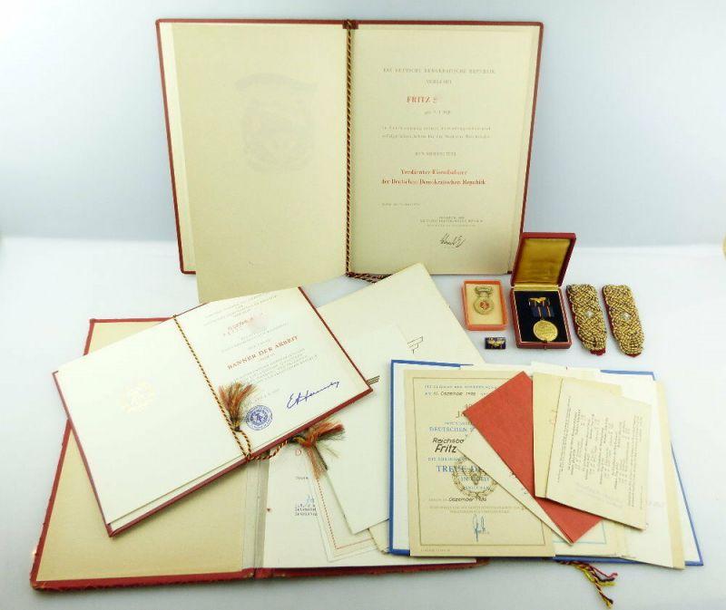 #e4075 Nachlass: Verdienter Eisenbahner der DDR 1953 mit Urkunde + Urkunden etc.