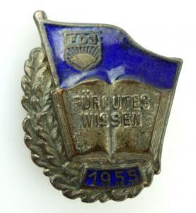 #e1872 Abzeichen für gutes Wissen 1955 FDJ silberfarben mit Verleihungsnummer