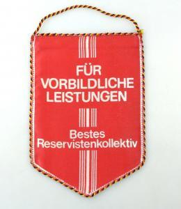 E10819 Alter Wimpel für vorbildliche Leistungen Bestes Reservistenkollektiv DDR