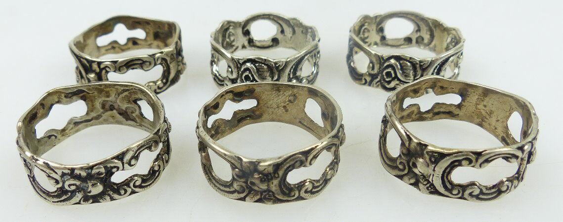 6 alte Serviettenringe in 800 Ag Silber mit Rosendekor norb756
