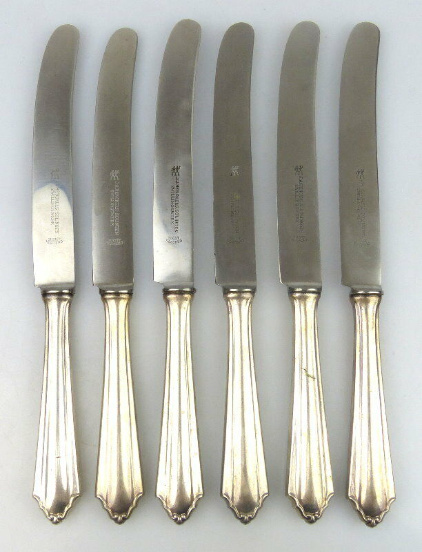 6 alte Messer in 800 (Ag) Silber, Bremer Silberwarenfabrik, norb755