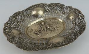 Dekorative Schale in 800 (Ag) Silber mit abgebildeten Engeln, norb766