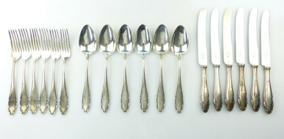 E10857 18 teiliges versilbertes Besteck von WMF 90er Silberauflage