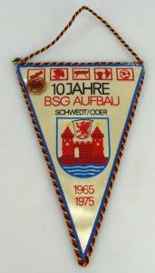 Wimpel 10 Jahre BSG Aufbau Schedt/Oder 1965-1975
