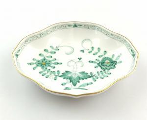 #e4258 Kleine Meissen Porzellan Schale 1. Wahl indisch grün Blumen & Goldrand