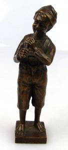 Original alte Bronze, Flöte spielender Junge, un067