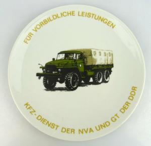 Andenkenteller: Für vorbildl. Leistungen KFZ-Dienst der NVA & GT der DDR, so213